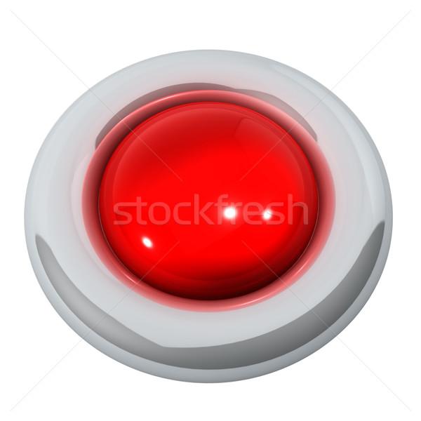 Piros gomb izolált fehér technológia műanyag Stock fotó © lenapix