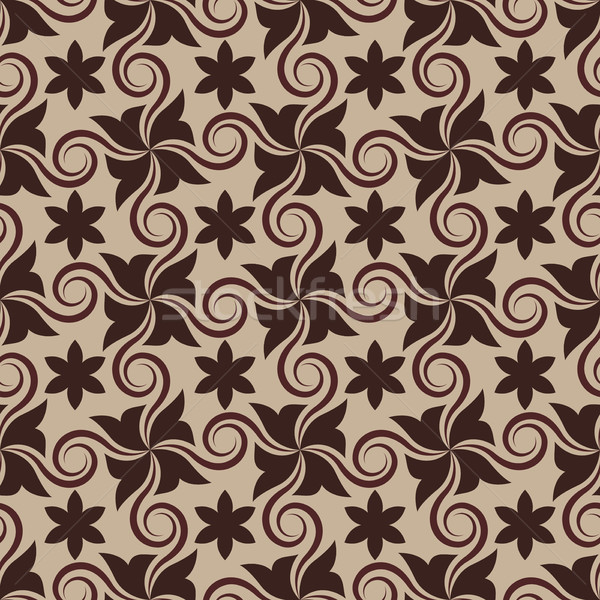 Abstract brown seamless pattern with curls. Stock photo © lenapix