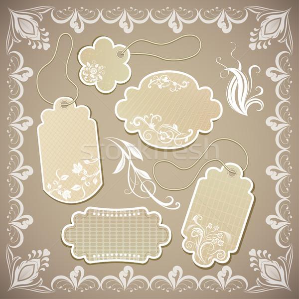 Vintage ornate beige paper labels vector illustration. Stock photo © lenapix