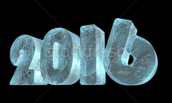 új 2016 év jég izolált fekete Stock fotó © lenapix