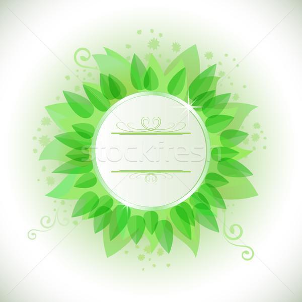 Abstract green leaves frame with copy space. Stock photo © lenapix