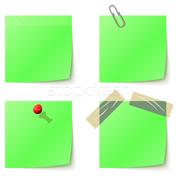 Green sticky notice papers isolated on white. Stock photo © lenapix