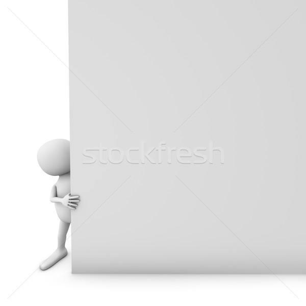 3D blanke man blanco papier pagina witte Stockfoto © lenapix