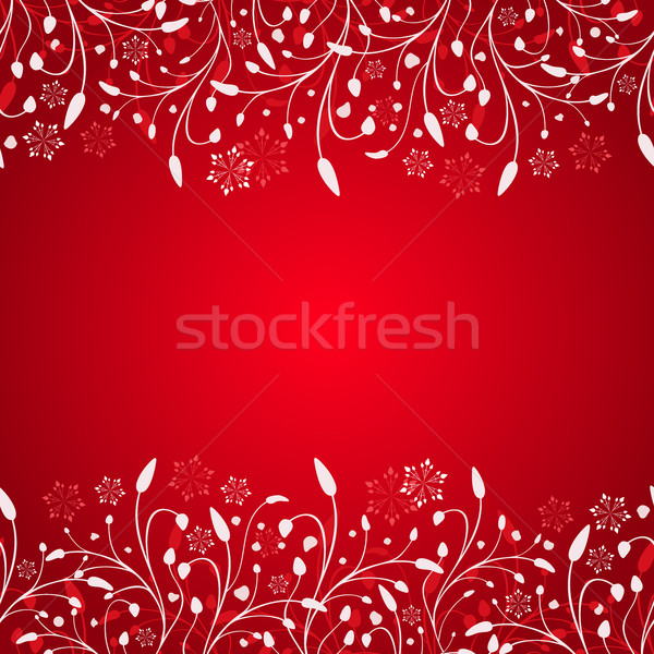 Abstract red winter branches Christmas background with copy spac Stock photo © lenapix
