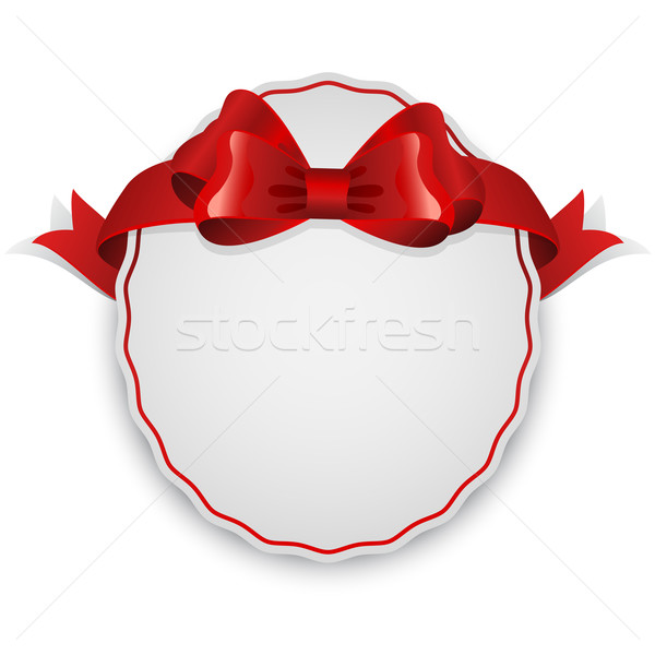 Oval blank white label with red bow. Stock photo © lenapix