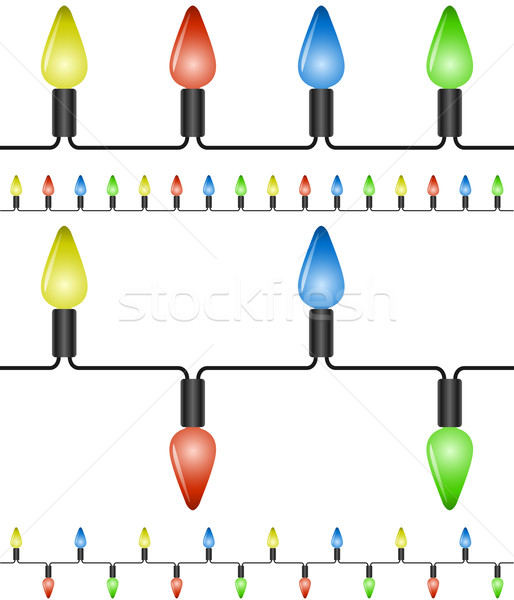 Stock photo: Christmas lights vector template on white background.