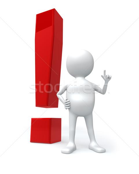 3D hombre blanco grande rojo signo aislado Foto stock © lenapix