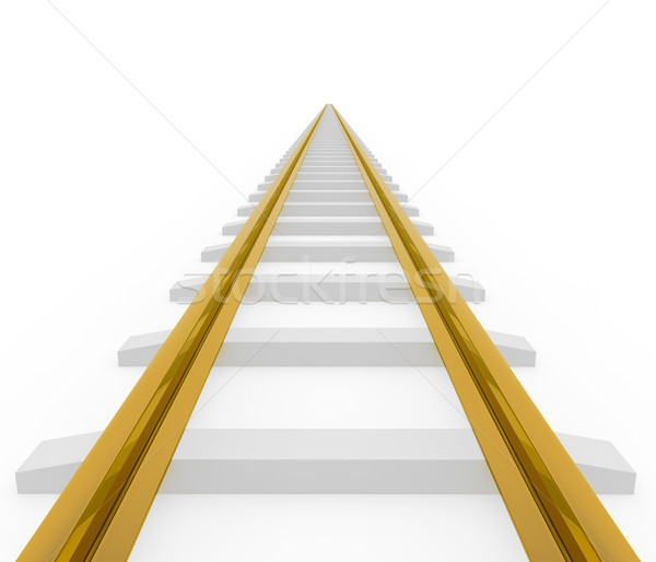 Vanishing straight golden railway isolated on white background. Stock photo © lenapix