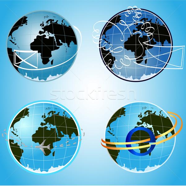 Photo stock: Vecteur · bleu · monde · communication · symboles · ordinateur