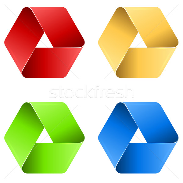 Abstract triangle paper loop icon in four colors. Stock photo © lenapix