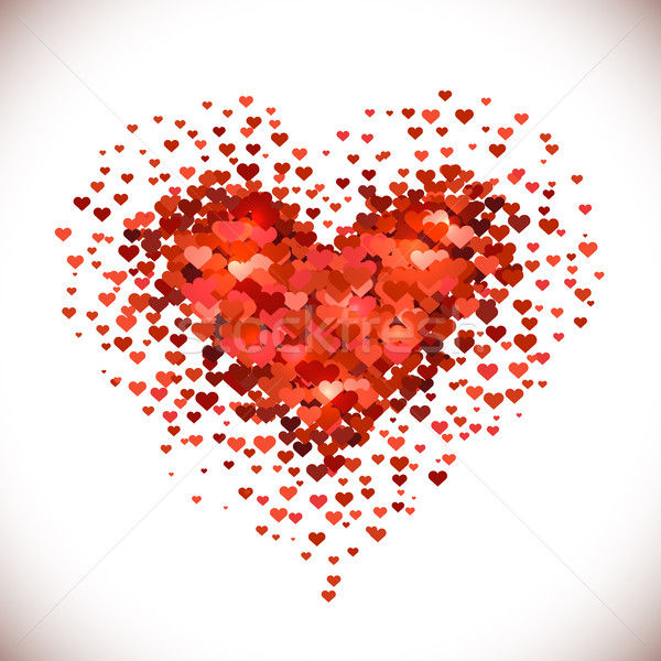 Heart shaped pile made of little red heart shapes Stock photo © lenapix