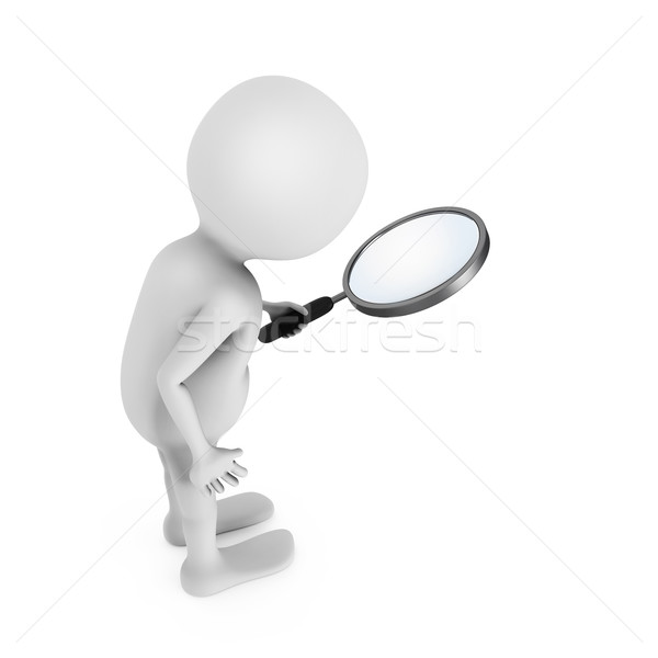 3D white man looking through the magnifying glass. Stock photo © lenapix