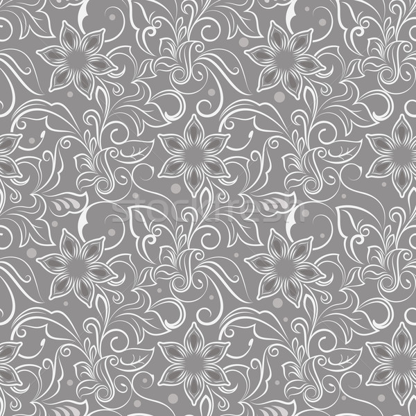 Seamless beige monochrome flower vector pattern. Stock photo © lenapix
