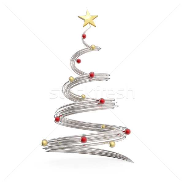 Chrome cone shapes Christmas tree with red and gold decoration b Stock photo © lenapix