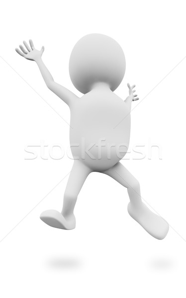 3D white man jumping up isolated on white background. Stock photo © lenapix