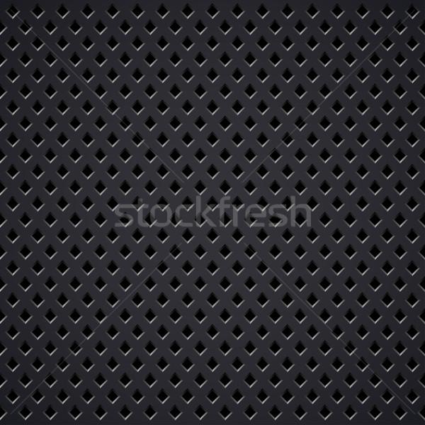 Dark metal diamond perforated grill vector texture. Stock photo © lenapix