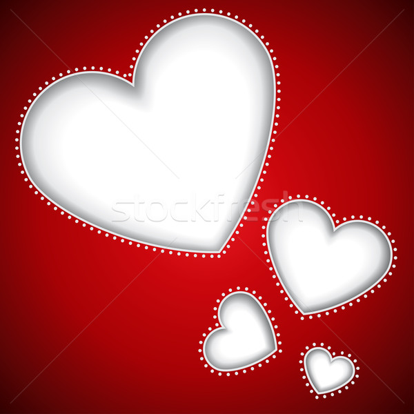 Cut heart shapes red vector background with copy space.  Stock photo © lenapix