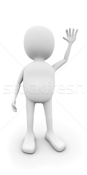 3D white man waving with the hand isolated on white background. Stock photo © lenapix