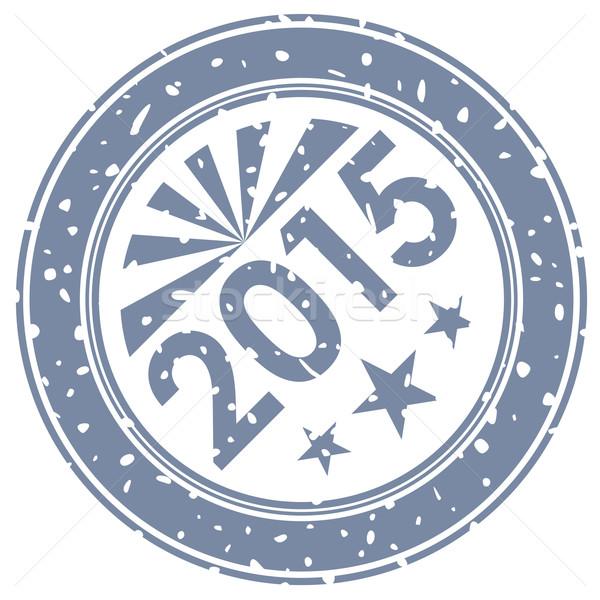 2015 új év tinta bélyeg nyomtatott izolált Stock fotó © lenapix