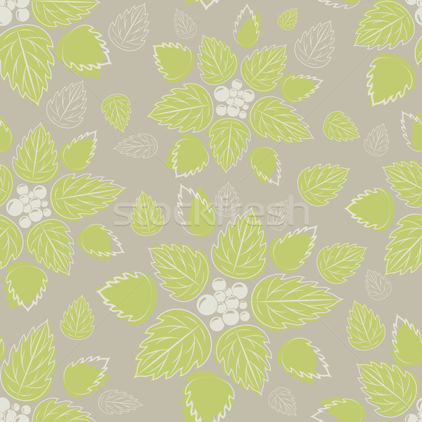 бесшовный зеленые листья бежевый вектор шаблон бумаги весны Сток-фото © lenapix