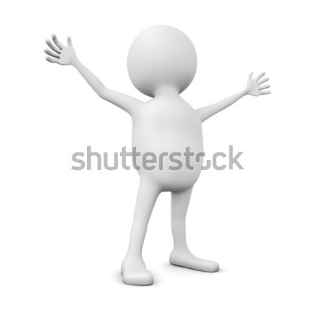 Abstract 3D white man with hands spread wide isolated on white. Stock photo © lenapix