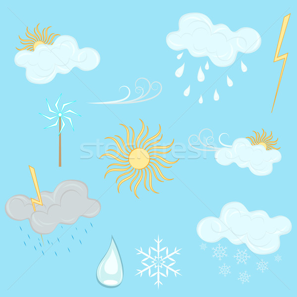 Weather vector design elements isolated on blue background. Stock photo © lenapix