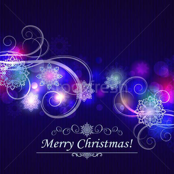 Streszczenie christmas płatki śniegu niebieski fioletowy wektora Zdjęcia stock © lenapix