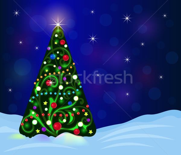 Ingericht kerstboom vector sjabloon hemel Stockfoto © lenapix