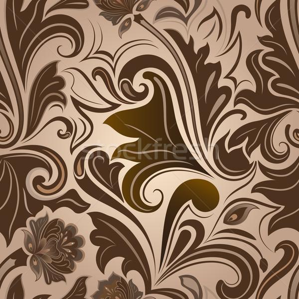 Végtelenített barna virágmintás vektor minta papír Stock fotó © lenapix