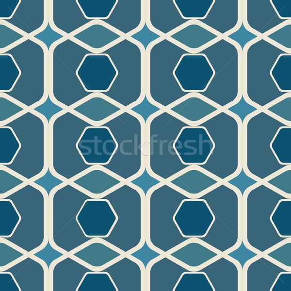 Absztrakt végtelenített kék vektor nyomtatott tapéta Stock fotó © lenapix