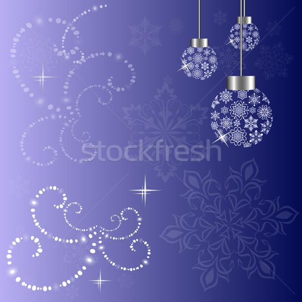 Christmas vector background with Christmas tree and snowflake ba Stock photo © lenapix