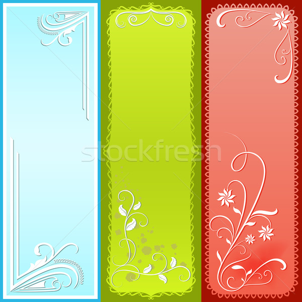 Vertical color floral vector banners.  Stock photo © lenapix