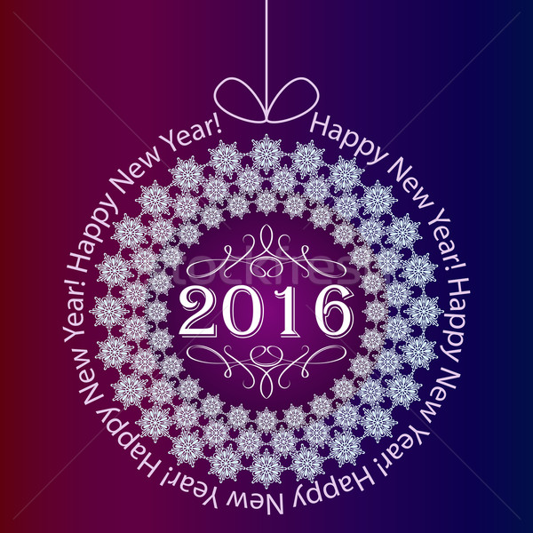 Boldog új 2016 év kártya hópehely Stock fotó © lenapix