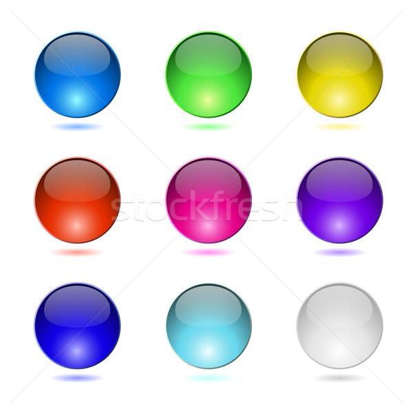 Colore pulsanti isolato bianco design web Foto d'archivio © lenapix