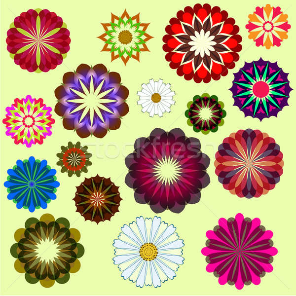 Abstract flower vector set isolated on yellow background.  Stock photo © lenapix