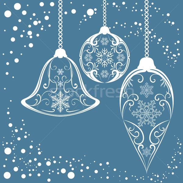 Natale vettore impiccagione sfondo inverno blu Foto d'archivio © lenapix