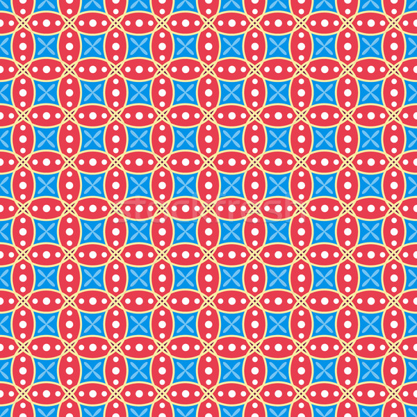 Red and blue seamless geometric vector wallpaper pattern. Stock photo © lenapix