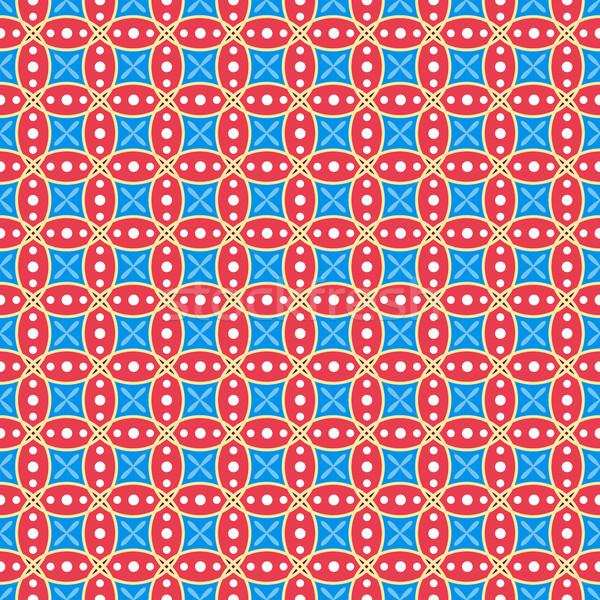 красный синий бесшовный геометрический вектора обои Сток-фото © lenapix