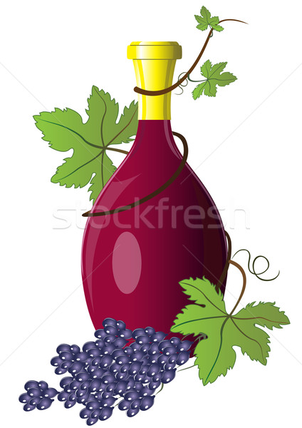 Bottle of wine twined with grape vine with branch of grapes. Stock photo © lenapix