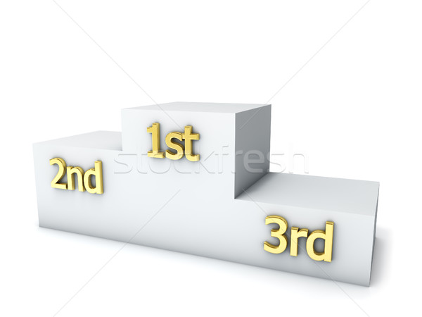 Foto stock: Vencedores · prêmio · pódio · isolado · branco · etapa