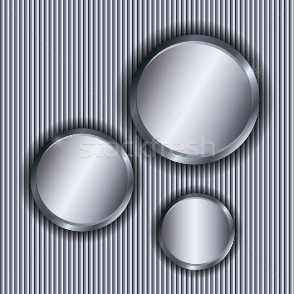 Metallic vector background with circle copy spaces. Stock photo © lenapix