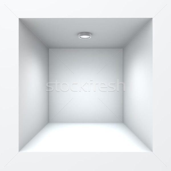 Empty square built-in shop self with illumination. Stock photo © lenapix
