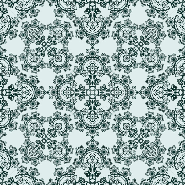 Seamless green floral ornate vector pattern. Stock photo © lenapix