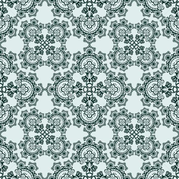 бесшовный зеленый цветочный вектора шаблон Сток-фото © lenapix