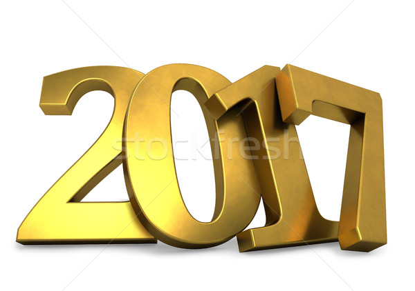 Golden 2017 year figures leaned to the wall 3D render. Stock photo © lenapix