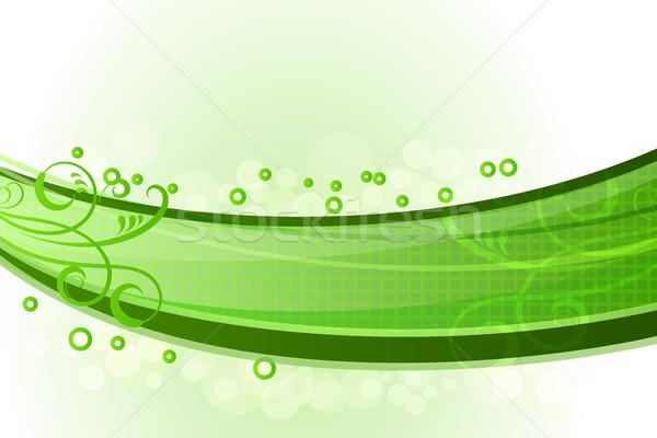 Absztrakt zöld hullámok virágmintás dekoráció vektor Stock fotó © lenapix