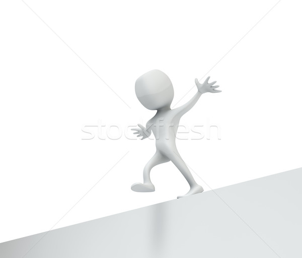 Abstract white man misstepping of the edge. Stock photo © lenapix