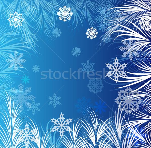 Mavi kış don süs soyut cam Stok fotoğraf © lenapix
