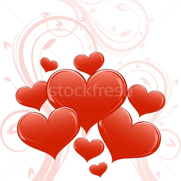 Abstract glossy heart shapes Valentine card. Stock photo © lenapix