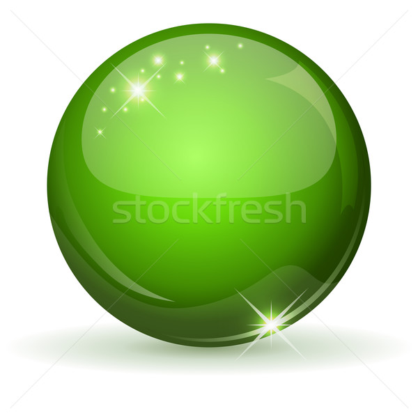 Green glossy sphere isolated on white. Stock photo © lenapix